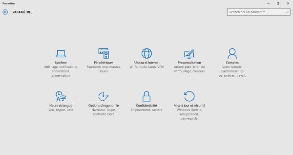 Windows 10 paramètres